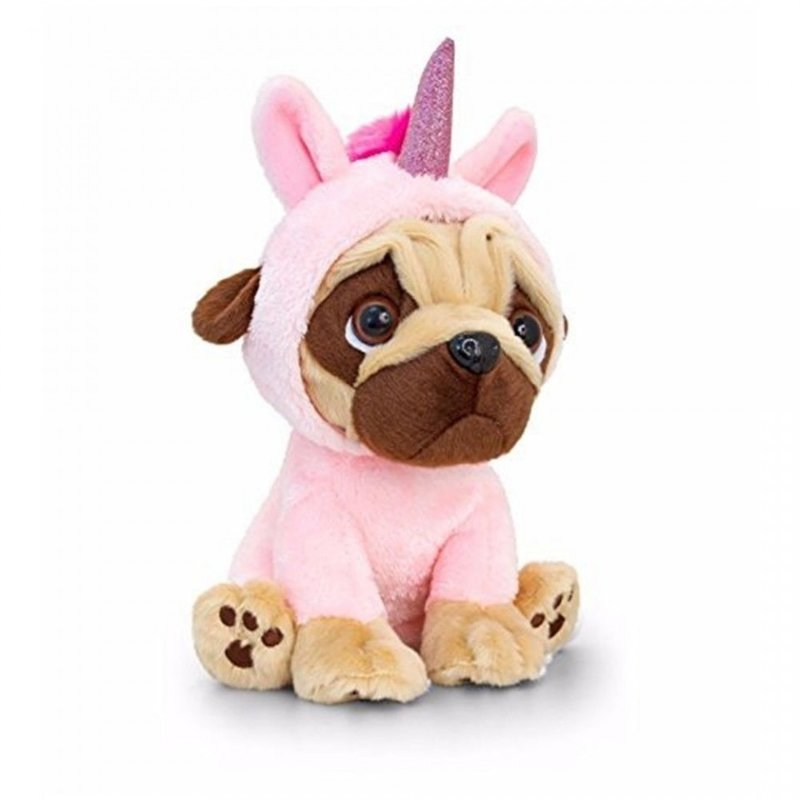 Catel de plus Mops in costum de unicorn 20 cm